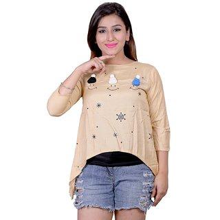Future girl Rayon Foan Printed Casual Wear Top for Girls/Women