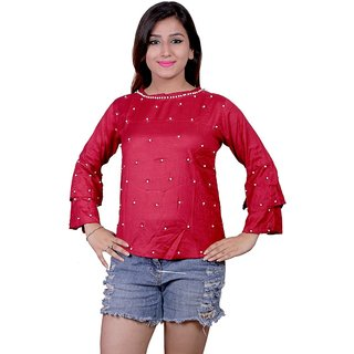Future girl Rayon Magenta Plain Casual Wear Top for Girls/Women