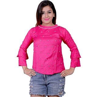 Future girl Rayon Pink Plain Casual Wear Top for Girls/Women