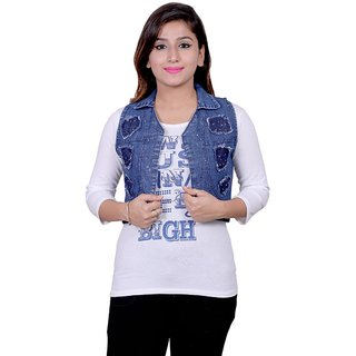 Future girl White Casual Wear Top with Denim Jacket for Girls/Women