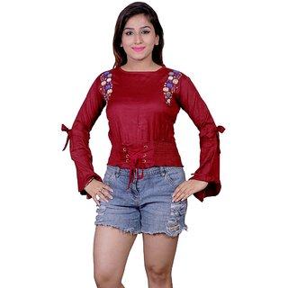 Future girl Cotton Maroon Plain Casual Wear Top for Girls/Women
