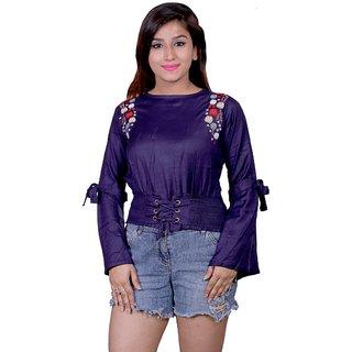 Future girl Cotton Purple Plain Casual Wear Top for Girls/Women