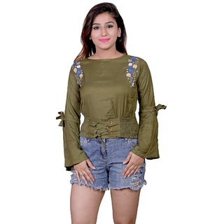 Future girl Cotton Green Plain Casual Wear Top for Girls/Women