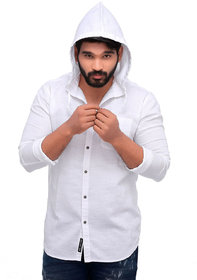 ROLLER FASHIONS Men's White Hoodie Long Sleeves Cotton Casual Shirt