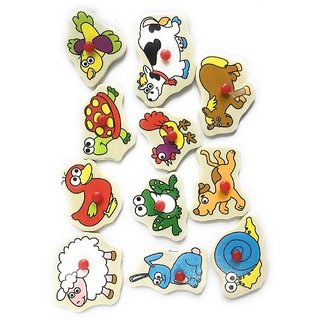 SHRIBOSSJI Wooden Colorful Learning Board Animals Tray with Picture ( MULTICOLOUR)