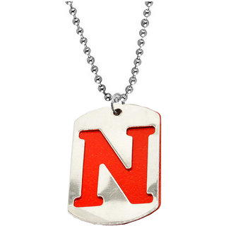 Sullery Men Women Intial Letter N Alphabet Locket With Chain  Red And Silver  Stainless Steel  Pendant Necklace