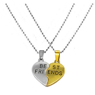 Sullery Couple Broken Heart Broken Style 2-Piece Best Friend Forever Jewelry Locket with chain Alloy  Pendant Necklace