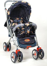 DealBindaas Pram Comfort Cushioned Crome Wheel Assorted Colour
