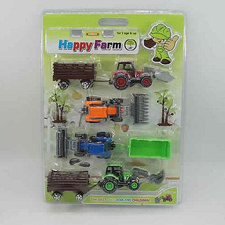 SHRIBOSSJI HAPPY FARM VEHICLES SET PULL BACK TOY FOR KIDS (MULTICOLOR)