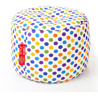 Style Homez Round Cotton Canvas Polka Dots Printed Bean Bag Ottoman Stool Large Cover Only, Multi Color