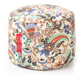 Style Homez Round Cotton Canvas Floral Printed Bean Bag Ottoman Stool Large Cover Only, Multi Color