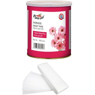 GoodsBazaar Beeone Fairness Milky Wax with 90 Waxing Strips - 800 gm