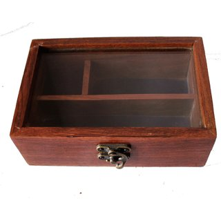 Anayra's Handcrafted Sheesham Jewelry Box with Glass Top
