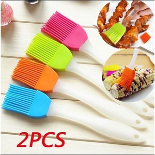 Wellbeing Within 2 Pcs High Temp Silicone Brush Bread Brush Pastry Bakeware Oil Roast Cream Utensil Med Size Multicolor
