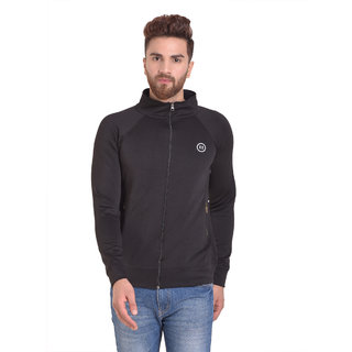 PAUSE Black Solid Zip Mock Slim Fit Full Sleeve Men's Armour Jacket