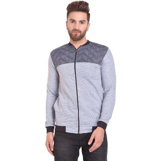 66279ab8b PAUSE Silver Self Design Zip Mandarin Slim Fit Sleeveless Men's Bomber  Jacket