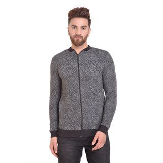 PAUSE Grey Self Design Zip Mandarin Slim Fit Full Sleeve Men's Bomber Jacket