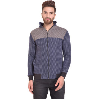 PAUSE Blue Self Design Zip Mock Slim Fit Full Sleeve Men's Bomber Jacket