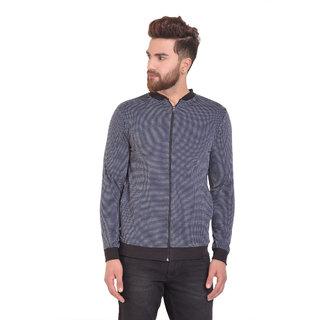 PAUSE Blue Self Design Zip Mandarin Slim Fit Short Sleeve Men's Bomber Jacket