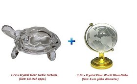 Combo Set of Crystal Turtle Tortoise and Crystal World Glass Globe for Feng Shui