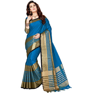 Ashika Light Blue Tussar Silk Banarasi Woven Festive Saree for Women