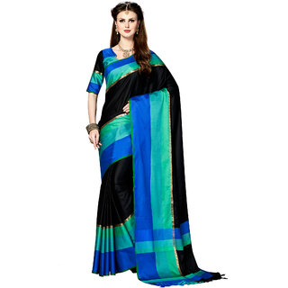 Ashika Woven Banarasi Tussar Silk Black Saree for Women with blouse Piece
