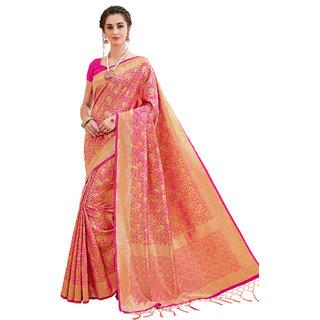 Ashika Fuschia Festive Woven Gadwal Cotton Silk Saree for women with Blouse piece