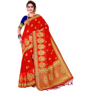Ashika Festive Woven Dark Red Cotton Silk Gadwal Saree for Women with Blouse Piece
