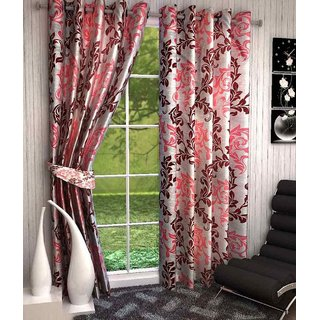 SmilingDecor Supremo Red Polyester Printed 2 Door Curtains