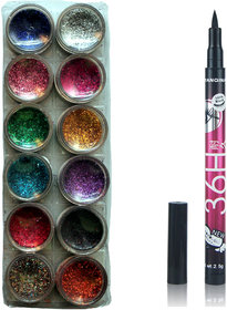 Vozwa 12 in 1 Glitter Powder and sketch pen eyeliner