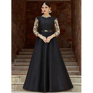 Buy Zipker Black Taffeta Silk Designer Gown With Brocade (Black,Golden)  Online @ ₹999 from ShopClues