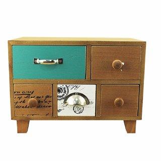 ZEVORA Wooden 5 Drawers Multi Purpose Utilities Cosmetic Vanity Storage Box (25X15) cm