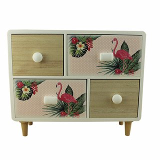 ZEVORA Wooden Pink 4 Drawers Multi Purpose Utilities Cosmetic Vanity Storage Box (30x10) cm