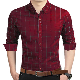 GLADIATOR PRODUCTS TRENDY CHECK MAROON 100  COTTON SHIRT