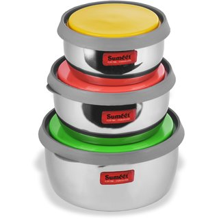 Sumeet Stainless Steel Modena Food Storage Airtight & Leak Proof Containers Set of 3 pc (400 ml 500 ml & 800 ml)