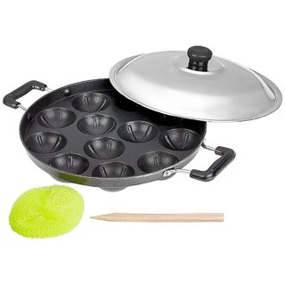 Kitchen Smart Premium Non-Stick 12 Cavity Appam Patra Side Handle with lid (Color may vary)