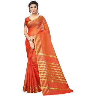 Swaron Orange Poly Silk Zari Patta Saree