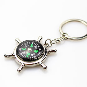 Imstar Silver Metallic Key Chain with Compass for Car Auto Bike Cycle Home Key Ring keychain