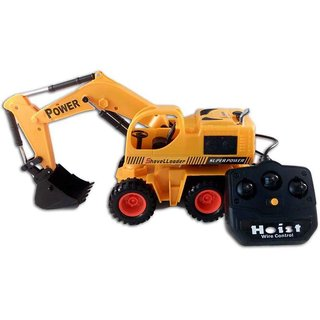 Shribossji Wired Remote Control 360 rotation Battery Operated Multicolor JCB Crane Truck Toy