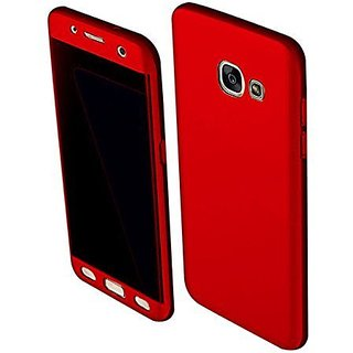 MOBIMON 360 Degree Full Body Protection Front Back Cover (iPaky Style) with Tempered Glass for Samsung J7 Max - Red