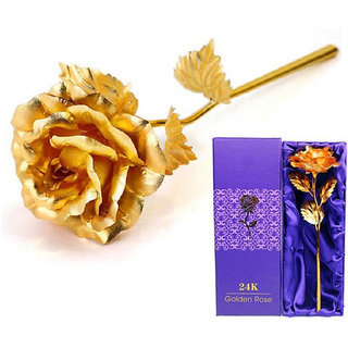24K Artificial Rose for Birthday and Anniversary, 10 Inches( Golden)