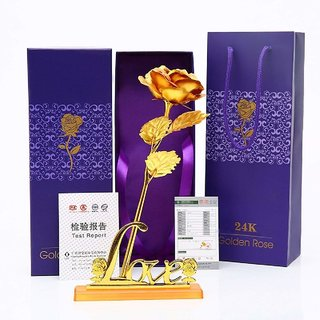 EASTERN CLUB 24K Golden Rose Gift with Love Stand