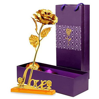 EASTERN CLUB 24K Gold Plated Rose, 11-inch with Love Stand