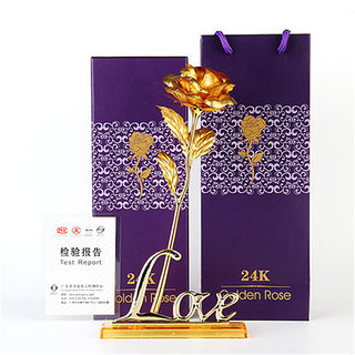 24K Artificial Rose for Birthday and Anniversary, 10 Inches( Golden with Love Stand)