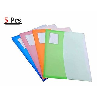 A4 Document Certificate File Folder Snap Button Closure Assorted Colors 5 Pcs