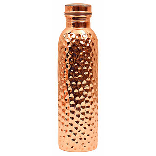 Style Homez Pure Copper Bottle  Lacquer Coated, 1000 ML Handmade, Hammered Design Joint Free & Leak Proof for Ayurvedic Health Benefits and Yoga (1 Litre)