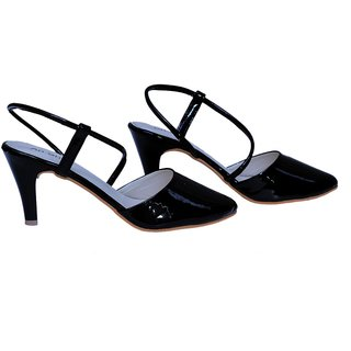 0eb43e0cdb2 AnShe Girls / Women's Patent Leather Belly Type Front 3 inch Pencil Heel  Fashion Sandals / Footwears