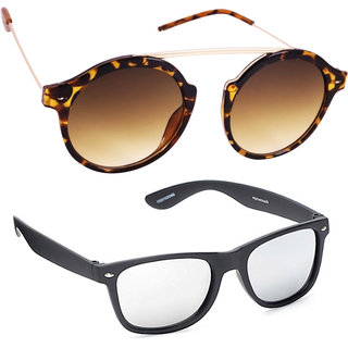 22fdaa4cd7c 88%off Derry Combo Of Brown Round And Silver Mirror Wayfarer Sunglasses