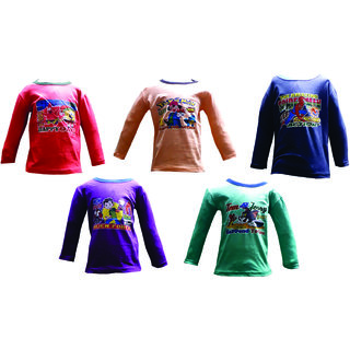 Om Shree Multicolor Full Sleeves Kids T-shirt (Pack of 5)
