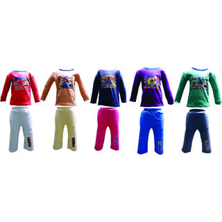 Om Shree Multicolor Full Sleeves With Track Pant Pack of 5